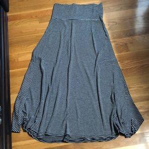 Black and gray striped lularoe maxi skirt, small